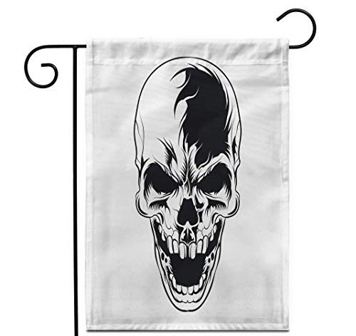 """Awowee 28""""x40"""" Garden Flag Dark Skull Head Laughter Face Horror Ripper Black Draw Graphic Outdoor Home Decor Double Sided Yard Flags Banner for Patio Lawn"""