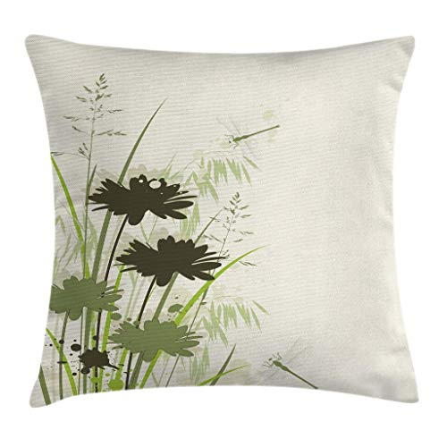 Ambesonne Dragonfly Throw Pillow Cushion Cover, Lake Flowers Leaves on Abstract Backdrop Bird Like Bugs, Decorative Square Accent Pillow Case, 16 X 16 Inches, Pale Green Olive Green Reseda Green ()