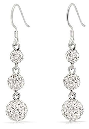 White Crystal Pave Round Double Disco 3 Ball Drop Linear Prom Pageant Dangle Earrings For Women 925 Sterling Silver