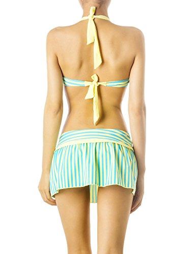iB-iP Mujer Banda Ajustable Espaguetis Correa A Camisa Corta Conjunto De Bikini Amarillo claro