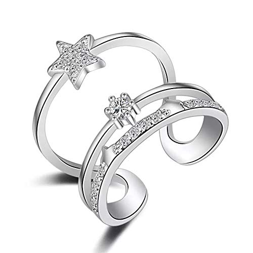 Fashion Sterling Silver Sparkly Unique Stars Adjustable Size Open Ring for Women and Girls