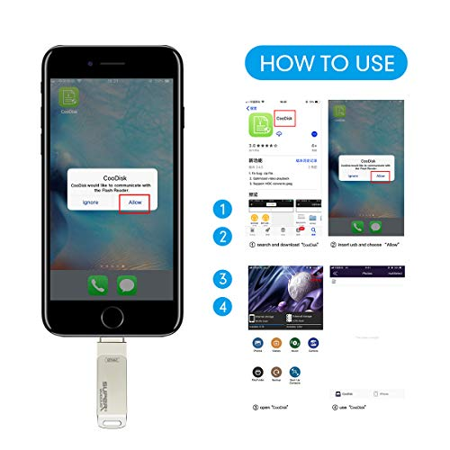 iPhone Flash Drive 256GB USB 3.0, iOS Photo Stick for iPhone iPad, Touch ID Encryption, Compatible iPhone X XR XS 6 6S 7 7S 8 8S iPad iOS Mac Windows