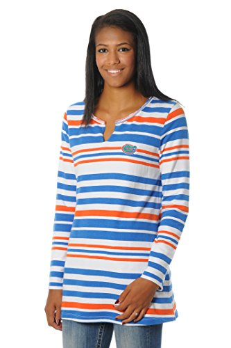 Florida Striped Shirt (NCAA Florida Gators Women's Striped Tunic Fleece Top, Small, Orange/Royal Blue/White)