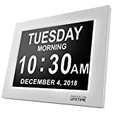 [Newest Version] Day Clock - Extra Large Impaired Vision Digital Clock with Battery Backup & 5 Alarm Options (White)