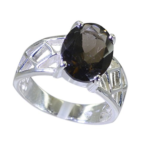 Jewelryonclick Real Smoky Quartz Ring For Gift Oval Prong-setting Silver Jewelry Available in Size 4-12 (Oval Ring Smoky Quartz Faceted)