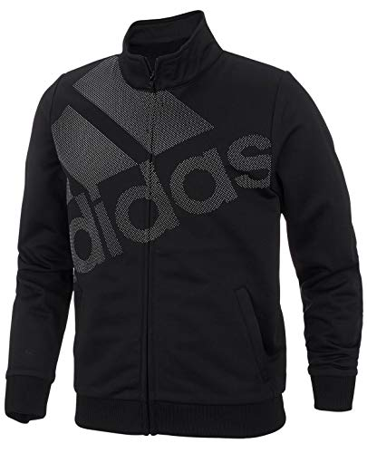 (adidas Big Girls Tricot Logo Full-Zip Long Sleeve Track Jacket - Black (X-Large 16))