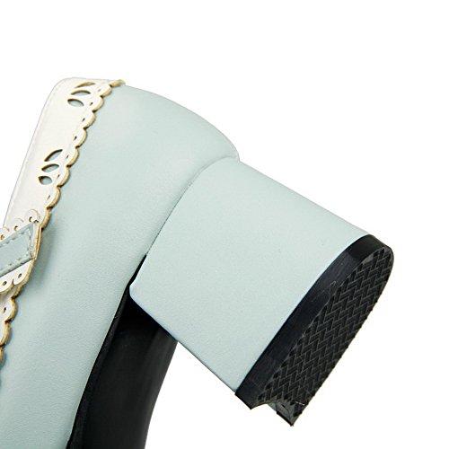 AllhqFashion Damen Rund Zehe Schnalle Gemischte Farbe Mittler Absatz Pumps Schuhe Blau