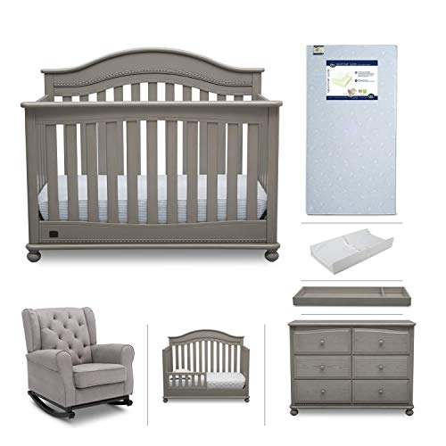 Baby Nursery Furniture Set - 7 Pieces Including Convertible Crib, Dresser, Rocking Chair, Crib Mattress, Toddler Rail, Changing Top, Changing Pad - Simmons Kids Bristol Storm Grey/Dove Grey from Delta Children