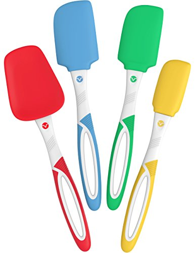Vremi 4 Piece Spatula Set - Colorful Silicone Rubber Baking Spatulas Nonstick BPA Free Dishwasher Safe - Turner Spatula for Icing Brownie or Cake Frosting Decorating - Heat Resistant up to 450°F 1 4-PIECE SILICONE SPATULA SET -High quality colorful kitchen utensils includes a mini spatula, small spatula, medium spatula, and medium spoon spatula. Cute and practical basic tools for everyday cooking, baking, scraping, icing, turning and flipping tasks HEAT PROOF THIN FLAT HEADS - Durable spatula set is made from tough, BPA free plastic and solid silicone to withstand high temp up to 450°F (230°C). Great for working with hot cream or dough, or to flip eggs or pancake directly in your frying pans NON STICK TURNER SCRAPER FLIPPER - Designed with smooth round edge and nonstick friendly to protect all kinds of cookware. Perfect go-to gadgets for yourself or your family, and their small size is ideal for camping or any outdoor cooking activity