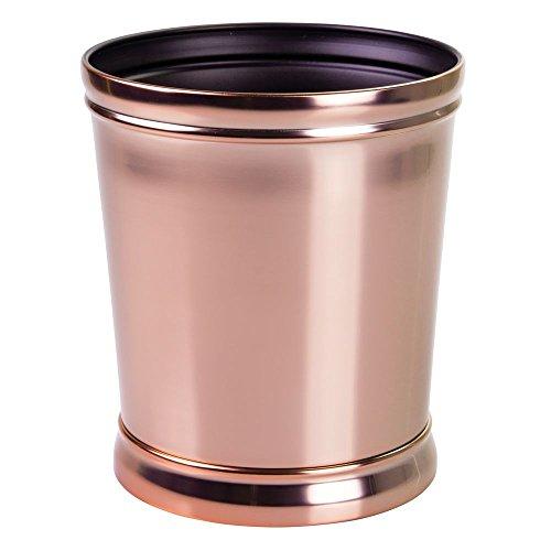 interDesign Sutton Wastebasket Trash Can for Bathroom, Bedroom Or Office Waste, Rose Gold