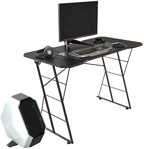Z-Shaped Gaming Computer Desk, Gamer Workstation with RGB LED Lights Racing Style Office PC Table with Cup Holder, Black