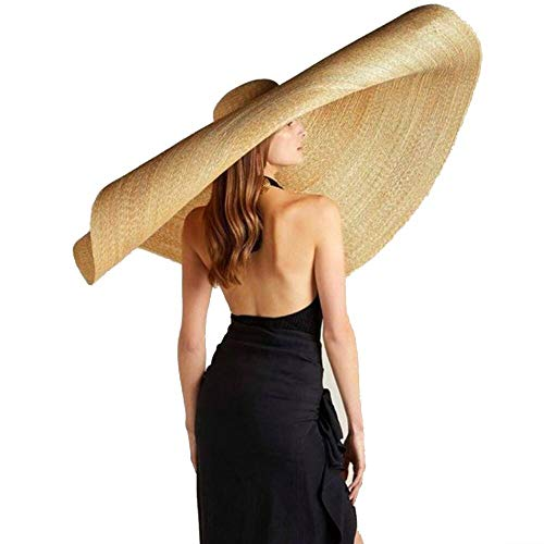 Women's Wide Brim Braided Sun Hat Ultra Wide Brim Beach Hat, Straw Hat Floppy Foldable Roll up Beach Cap Fishing Hat, Packable Summer Travel Hat 31 Inch for Beach Garding/Photography (Khaki)