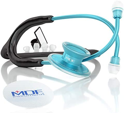MDF Acoustica Deluxe Lightweight Dual Head Stethoscope – Free-Parts-for-Life Lifetime Warranty – Aqua and Black MDF747XP-AQ11