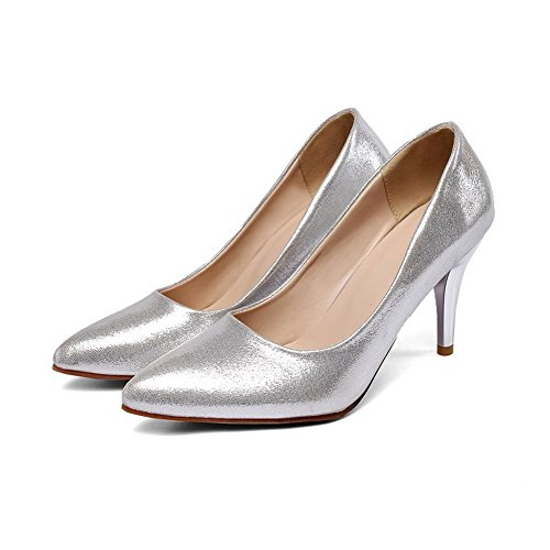Balamasa Mujeres Electroplate Heel Pull-on Lentejuelas Bombas-zapatos Plata