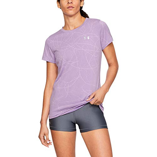 Under Armour Women's Tech Short Sleeve Defense Jacquard T-Shirt, Purple Ace (543)/Metallic Silver, Medium