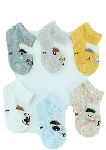 Non-skid Baby Socks Toddler Socks Short Socks for Children Kids Multi Socks for Spring and Summer - 6 Pairs (M(1-3year)) by J&J