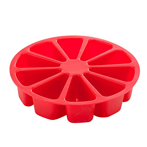 Aokinle Silicone Portion Cake Molds-10 Triangle Cavity,Nonstick Cake Pan for Baking,Large Bakeware,Soap Mould Pizza Pan,Round,Red ()