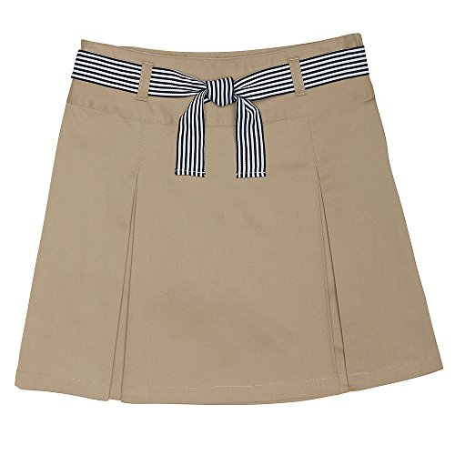 (French Toast Girls' Big Belted 2-Pleat Scooter, Khaki, 14)