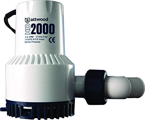 Attwood 4760-4 Heavy Duty 2,000 GPH Fully Submersible Boat Bilge Pump, White Finish
