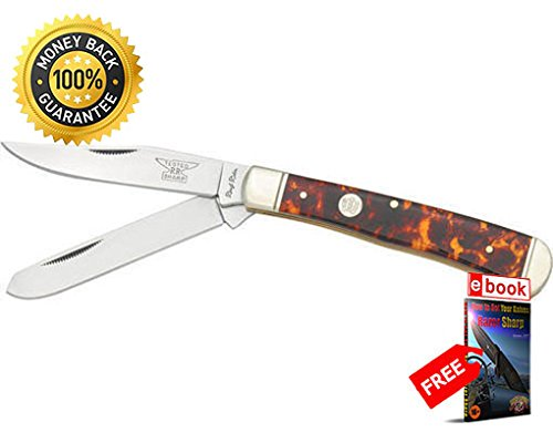 Imitation Tortoise Shell - Rough Rider Folding Utility Knife 512 Folding Knife Trapper Imitation Tortoise Shell Handle razor sharp knife strong carbon blade survival camping hunting EDC military knife eBOOK by MOON KNIVES