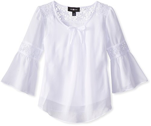 Amy Byer Big Girls' Top with Lace Inset Bell Sleeves, White, Small