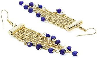 ZeroKaata Fashion Jewellery Delicate Chain and Navy Blue Hangings Western Earrings For Girls and Women