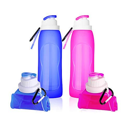 TURN RAISE Silicone Hiking Water Bottle, Set of 2 -