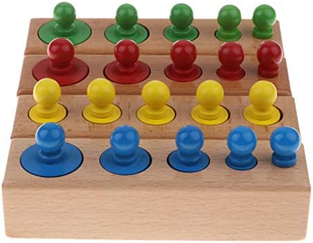 CUTICATE 4ノブシリンダー、幼児発達教育玩具の木製ノブパズルのセット