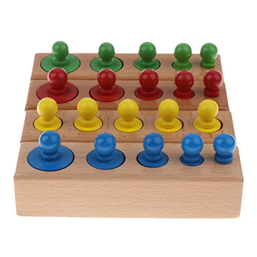 (Fityle Set of 4 Montessori Teaching Wooden 20pcs Knobbed Cylinders Socket Blocks Educational Toy)
