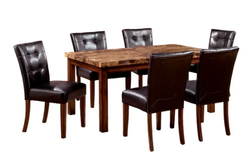 Furniture of America Carignan 7-Piece 48-Inch Dining Table Set with Faux Marble Top, Dark Oak Finish