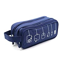 HONSKY Medium Water Repellent Travel Electronics Accessories Gadget Cable Cord Organizer, Hanging Cosmetic Makeup Toiletry Zipper Space Storage Bags Cases Pouch for Kid Women Men, Blue