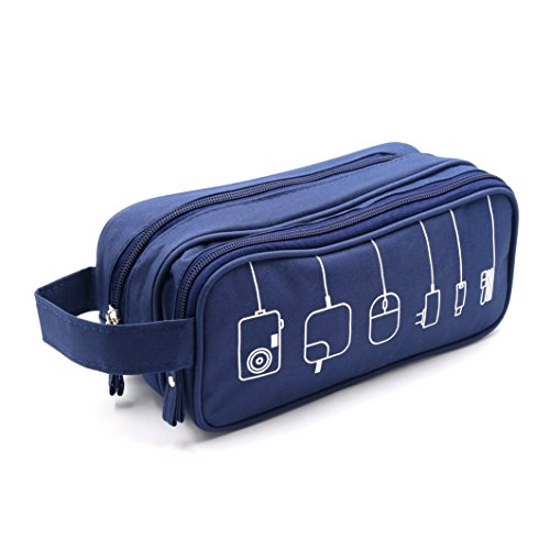 (HONSKY Medium Water Repellent Travel Electronics Accessories Gadget Cable Cord Organizer, Hanging Cosmetic Makeup Toiletry Zipper Space Storage Bags Cases Pouch for Kid Women Men, Blue)