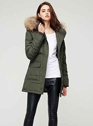 Escalier Women`s Down Coat With Raccoon Fur Hooded Winter Jacket Army Green XL by Escalier (Image #4)