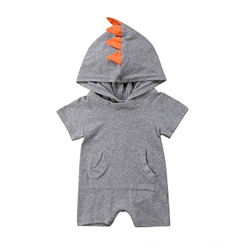 Newborn Kids Clothing Baby Boys Cute Cartoon Dinosaur Hooded Romper Jumpsuit Bodysuit Top Outfits Clothes