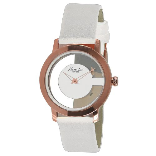 Kenneth Cole New York Transparent Rose-Gold with White Strap Women's watch #KC2811