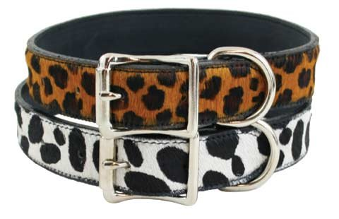 Hudson Bay Dog Collars - 2 colors available - Leopard 1in wide x 18in long fits 14in-18in long