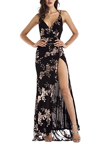 OWIN Women's Sexy Deep V Neck Maxi Sequin Halter Backless Split Long Dress (M, Black) Sequins Halter Prom Formal Dress