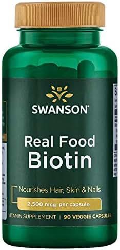 Swanson Real Food Biotin Vitamin B-7 Hair Skin Nail Metabolism Health from Organic Hummingbird Tree Extract Vegan Gluten-Free Non-GMO B7 5000 mcg 90 Veggie Capsules (Caps)