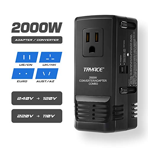 TryAce 2000W Worldwide Travel Converter and Adapter for Hair Dryer/Phones/Laptop,Set Down Voltage 220V to 110V International Voltage Converter, All in One Plug Adapter
