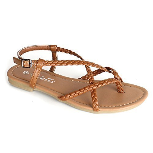Wells Women's Braided Strappy Gladiator Flat Sandal Y-Strap Thong Flip Flop Crossing Over Flat Sandals (6, Tan)
