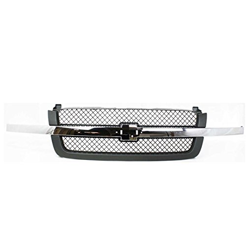 CarPartsDepot, Chrome Bar Molding / Dark Gray Grille Mesh Insert Front Grill Replacement, 400-15474 GM1200474 88968933 (Chrome Fine Mesh Grille)