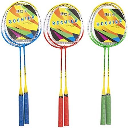 Deloito Erwachsenen Badminton Schläger Anzüge Federballschläger Anfänger Feder Spieler Badmintonschläger Federball Set Doppelschläger