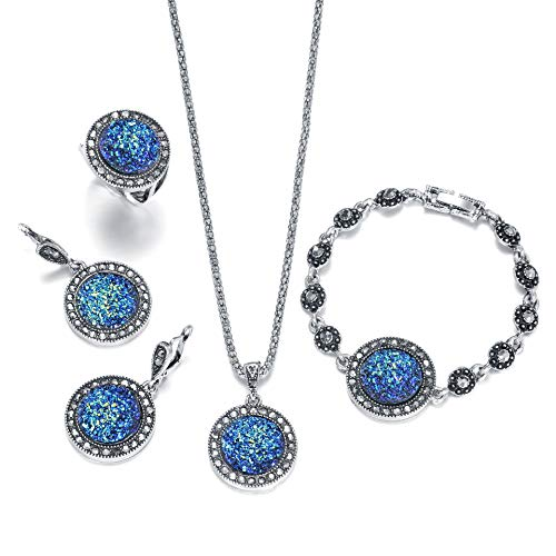 (HIIXHC 4 PCS Black Jewelry Set for Women Diamond Drusy Agate Pendant Women Necklace Earring Ring and Bracelet Wedding Jewellery (Blue Ring Size 7))
