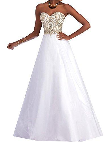 Erosebridal Strapless Goldstickerei Bodenlangen Abendkleid mit Weiß qT4S1qz