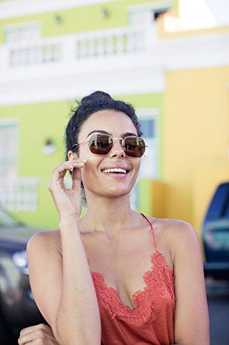 Sol Mujer Hexagonales Ca Metálicas Espejadas Gafas Hombre Cheapass UV400 de 002 FqpRwExB