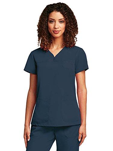 Grey's Anatomy Women's 3 Pocket V-Neck Tonal Stitch Scrub Top, Steel, Large (Stitch Tonal)