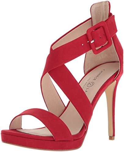 Chinese Laundry Women's Foxie Heeled Sandal, Lollipop RED Suede, 9 M US