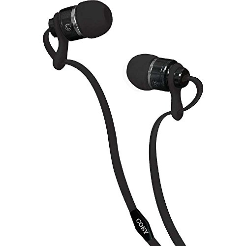 Coby CVPE-03-BLK Deluxe Tangle Free Cable Metal Stereo Earbuds with Mic, Black