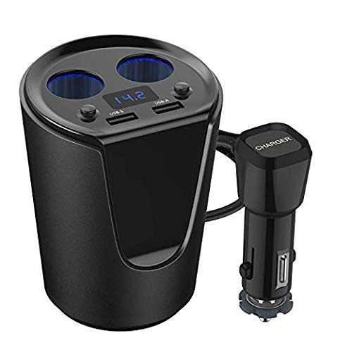 HiGoing Car Cup Charger, USB Car Charger 12V/24V Multi Function Car Power Adapter with Dual USB Ports + 2-Socket Cigarette Lighter Splitter for iPhone iPad, Android Samsung, GPS, Dashcam