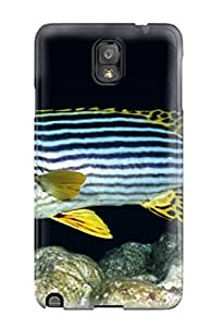 Craigmmons YcBqTFD620NnUxe Protective Case For Galaxy Note 3(stripes 2 Blue Yellow White Water Acvatic Ocean Animal Fish)